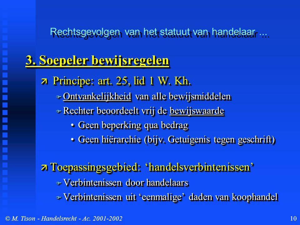 © M. Tison- Handelsrecht - Ac. 2001-200210 3. Soepeler bewijsregelen  Principe: art.