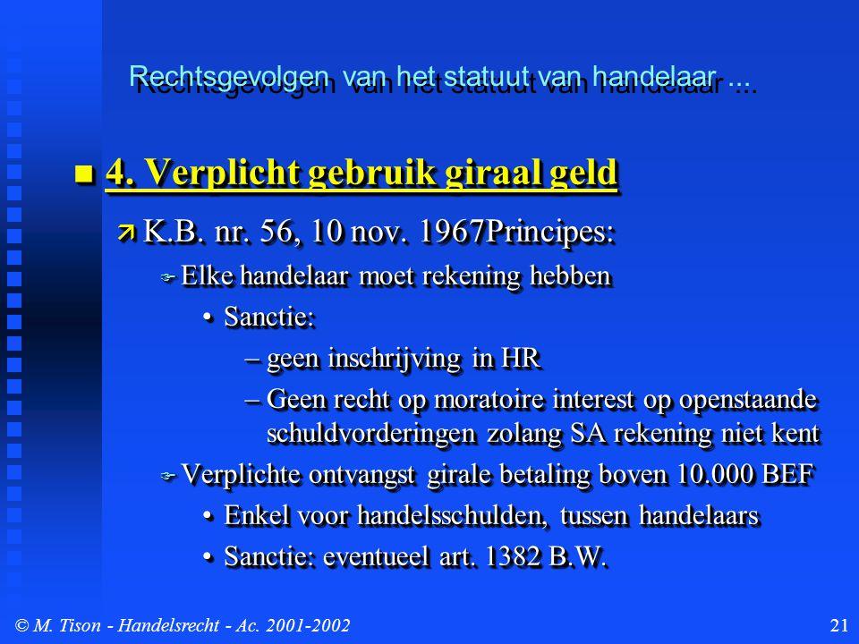 © M. Tison- Handelsrecht - Ac. 2001-200221 4. Verplicht gebruik giraal geld 4.