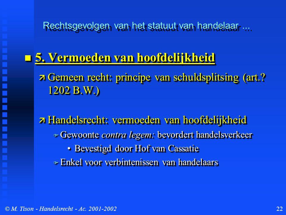 © M. Tison- Handelsrecht - Ac. 2001-200222 5. Vermoeden van hoofdelijkheid 5.