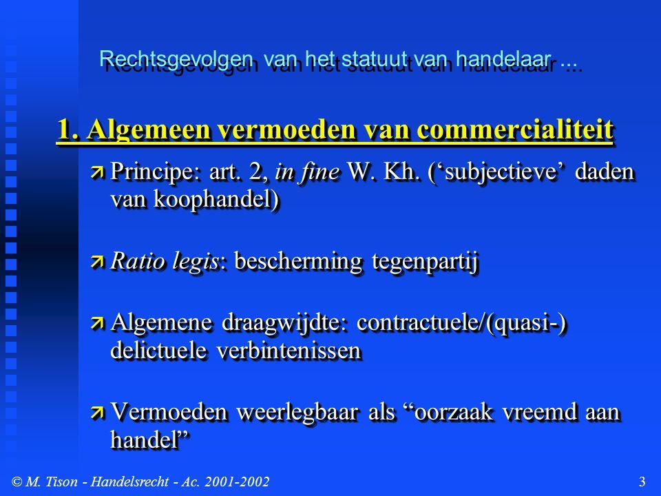 © M. Tison- Handelsrecht - Ac. 2001-20023 1.
