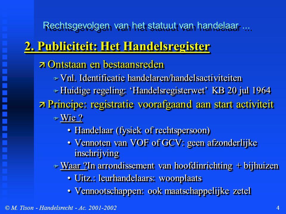 © M. Tison- Handelsrecht - Ac. 2001-20024 2.