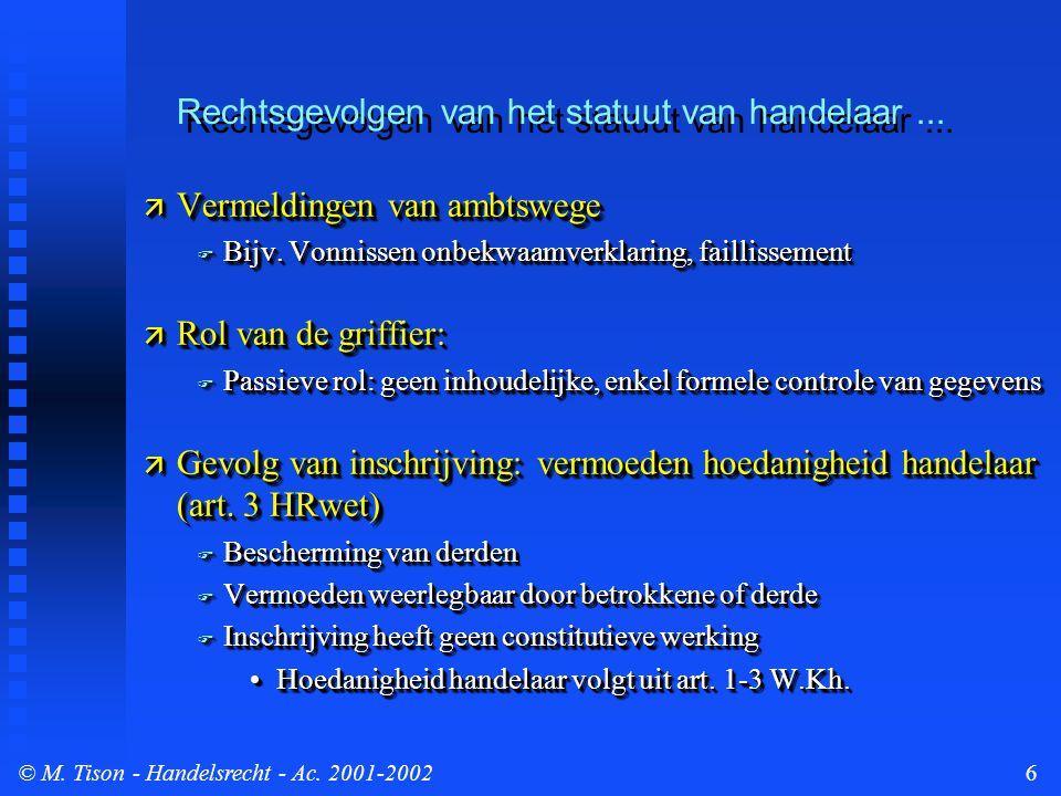 © M.Tison- Handelsrecht - Ac. 2001-20027  Publiciteitswerking HR  Verplichte melding HR-nr.