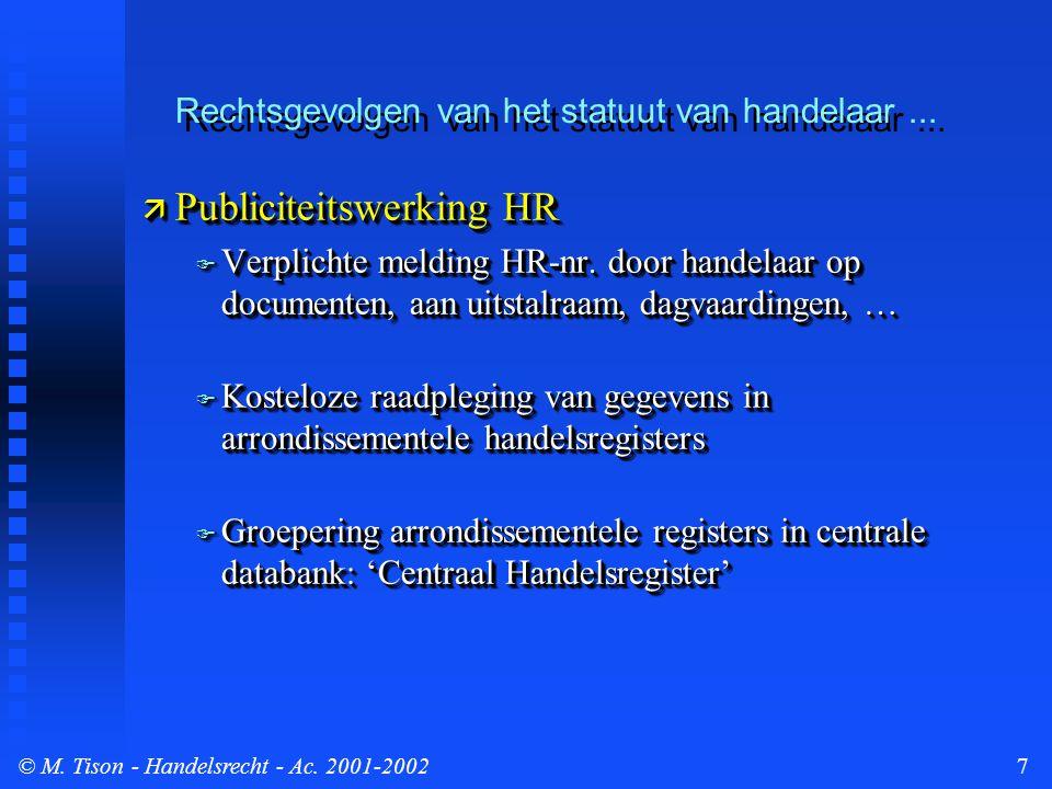 © M. Tison- Handelsrecht - Ac. 2001-20027  Publiciteitswerking HR  Verplichte melding HR-nr.