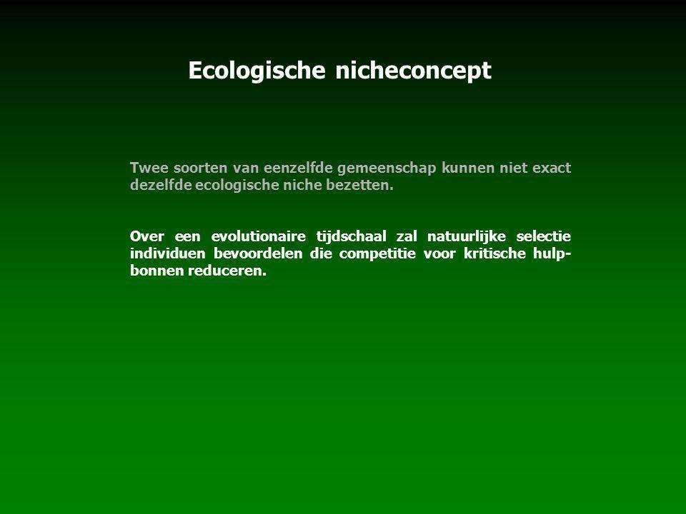 Ecologische nicheconcept Twee soorten van eenzelfde gemeenschap kunnen niet exact dezelfde ecologische niche bezetten. Over een evolutionaire tijdscha