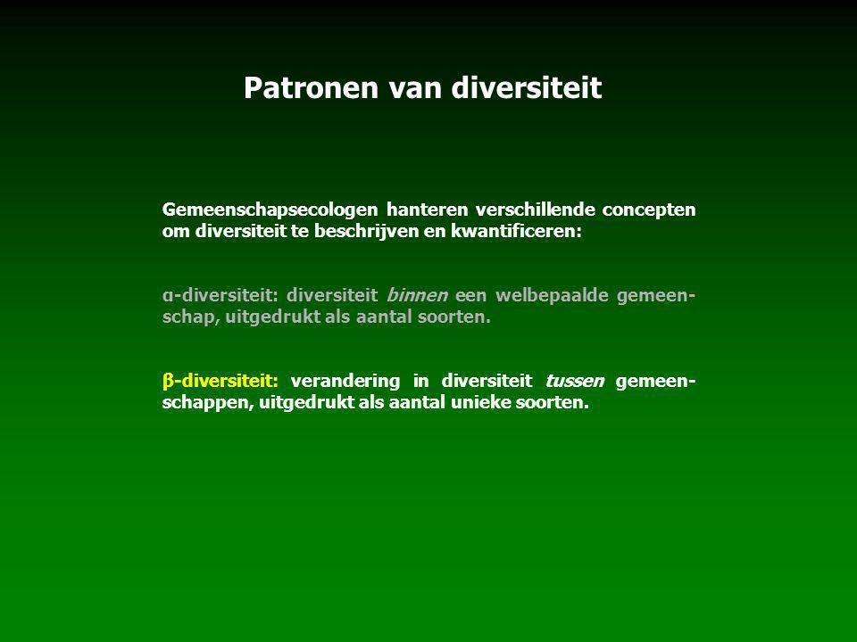 Patronen van diversiteit Gemeenschapsecologen hanteren verschillende concepten om diversiteit te beschrijven en kwantificeren: α-diversiteit: diversit