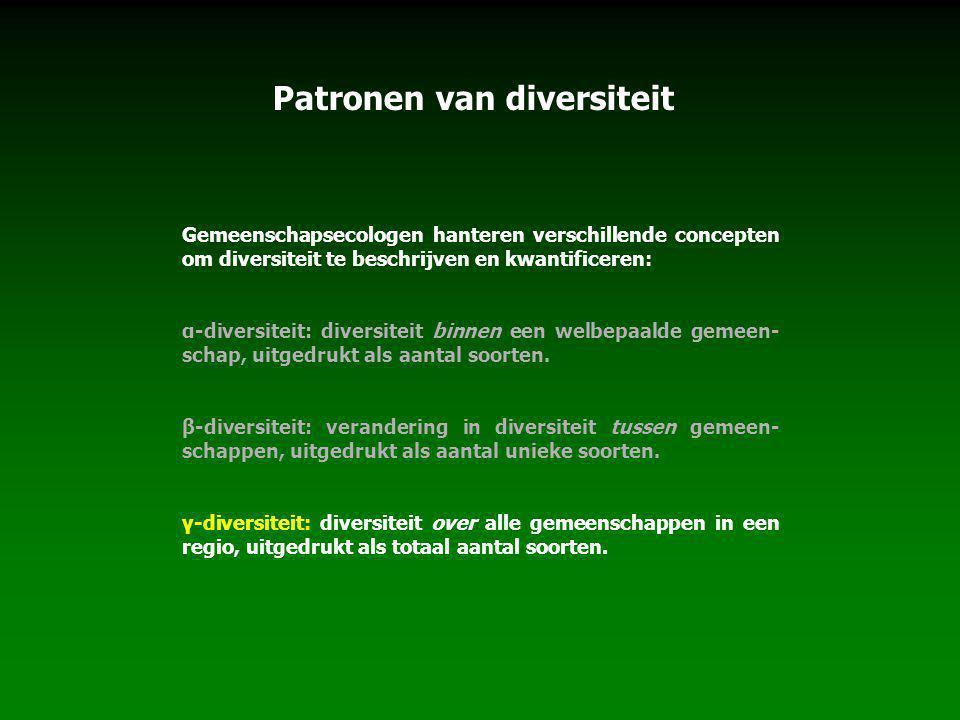 Patronen van diversiteit Gemeenschapsecologen hanteren verschillende concepten om diversiteit te beschrijven en kwantificeren: α-diversiteit: diversiteit binnen een welbepaalde gemeen- schap, uitgedrukt als aantal soorten.
