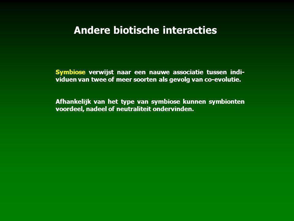 Andere biotische interacties Symbiose verwijst naar een nauwe associatie tussen indi- viduen van twee of meer soorten als gevolg van co-evolutie.