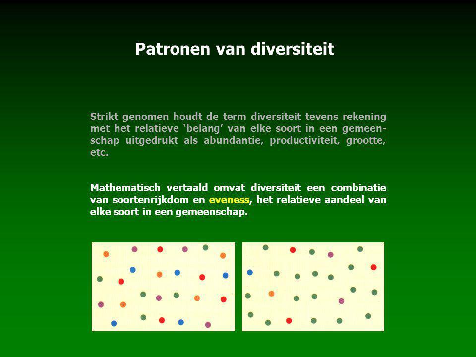 Patronen van diversiteit Strikt genomen houdt de term diversiteit tevens rekening met het relatieve 'belang' van elke soort in een gemeen- schap uitgedrukt als abundantie, productiviteit, grootte, etc.