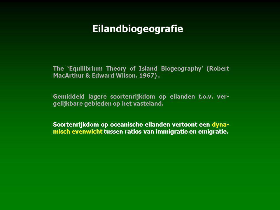 The 'Equilibrium Theory of Island Biogeography' (Robert MacArthur & Edward Wilson, 1967). Gemiddeld lagere soortenrijkdom op eilanden t.o.v. ver- geli