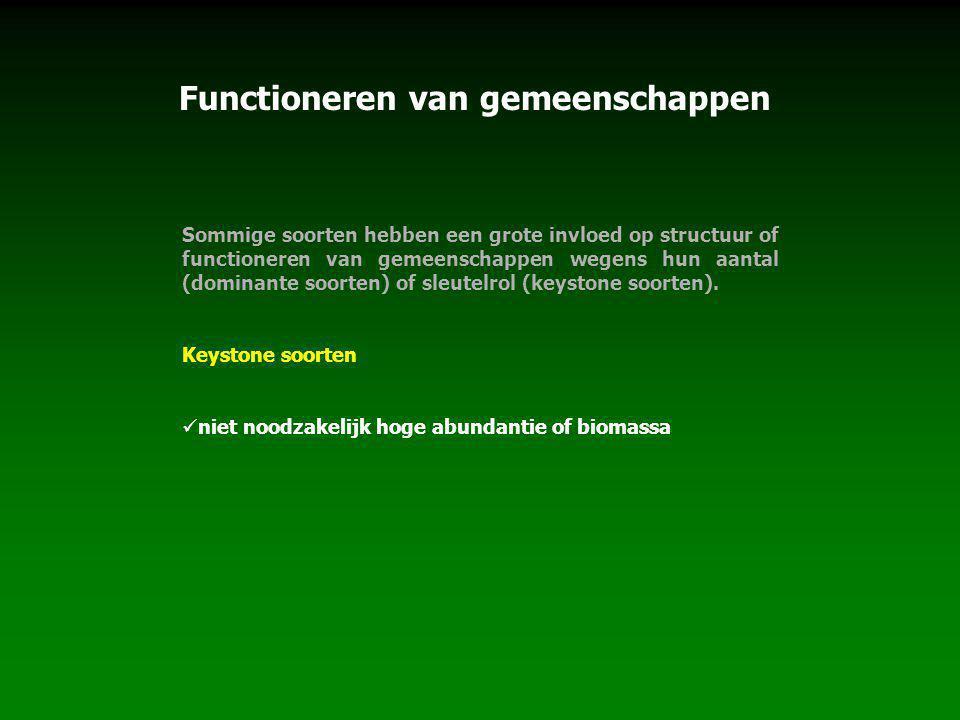 Functioneren van gemeenschappen Sommige soorten hebben een grote invloed op structuur of functioneren van gemeenschappen wegens hun aantal (dominante soorten) of sleutelrol (keystone soorten).