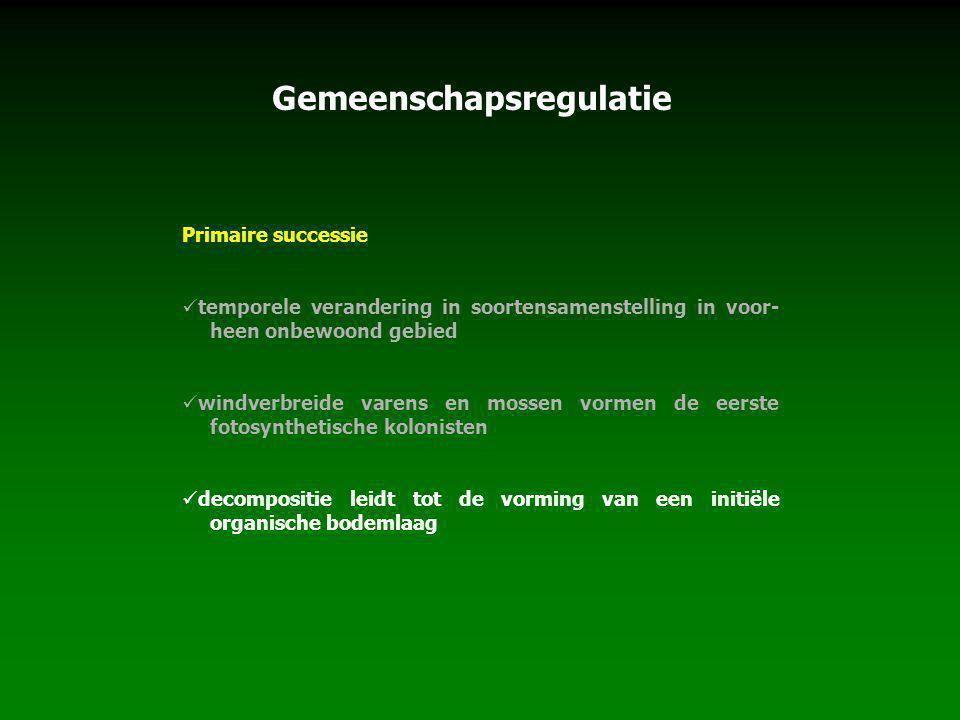 Gemeenschapsregulatie Primaire successie temporele verandering in soortensamenstelling in voor- heen onbewoond gebied windverbreide varens en mossen v