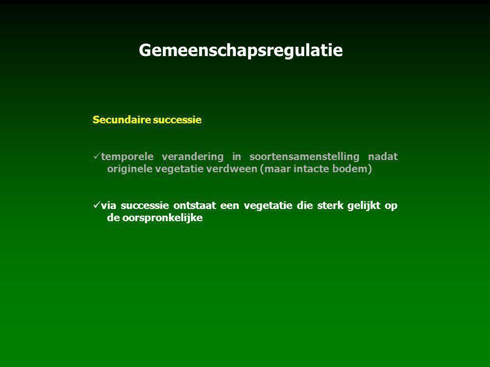 Secundaire successie temporele verandering in soortensamenstelling nadat originele vegetatie verdween (maar intacte bodem) via successie ontstaat een