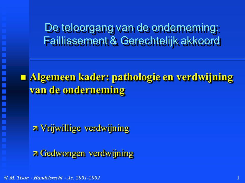 © M.Tison- Handelsrecht - Ac. 2001-200212 II. Preventieve mechanismen: Gerechtelijk Akkoord...