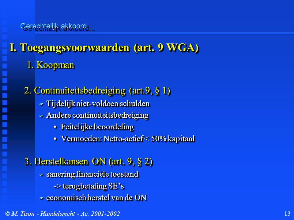 © M. Tison- Handelsrecht - Ac. 2001-200213 Gerechtelijk akkoord...