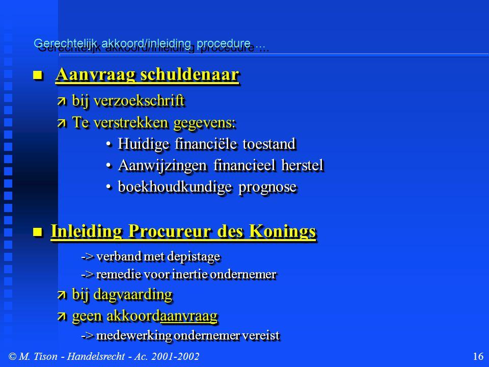 © M. Tison- Handelsrecht - Ac. 2001-200216 Gerechtelijk akkoord/inleiding procedure...