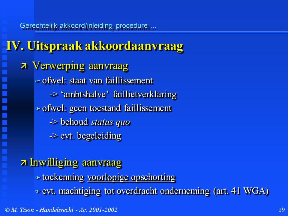 © M. Tison- Handelsrecht - Ac. 2001-200219 Gerechtelijk akkoord/inleiding procedure...