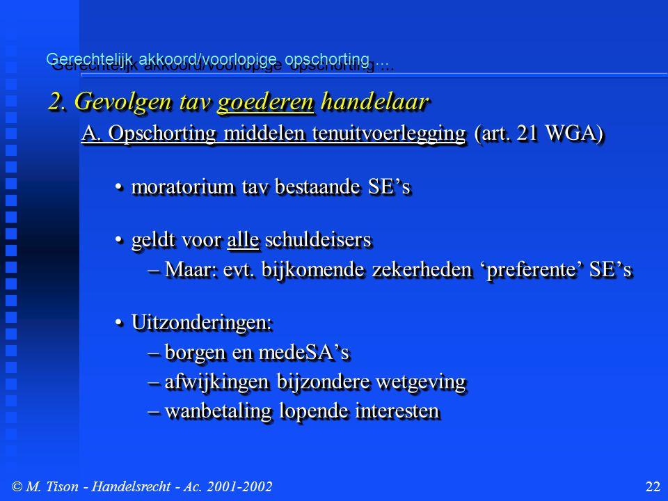 © M. Tison- Handelsrecht - Ac. 2001-200222 Gerechtelijk akkoord/voorlopige opschorting...