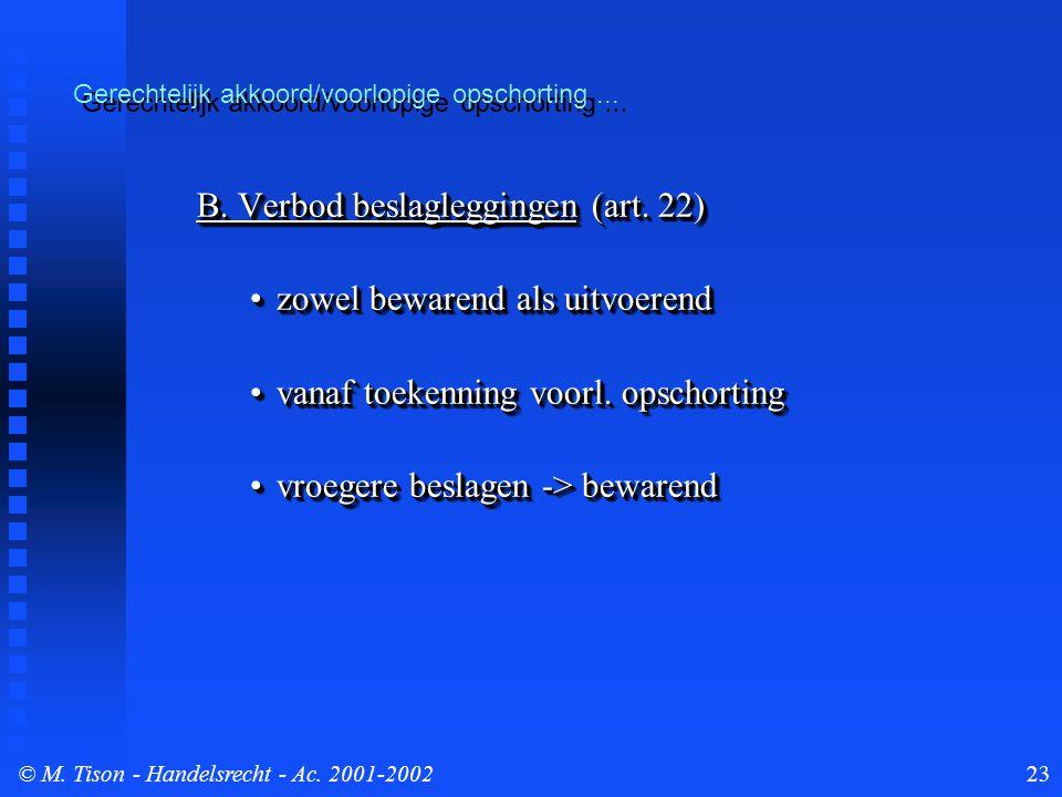 © M. Tison- Handelsrecht - Ac. 2001-200223 Gerechtelijk akkoord/voorlopige opschorting...