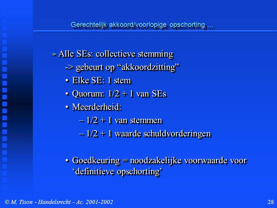 © M. Tison- Handelsrecht - Ac. 2001-200228 Gerechtelijk akkoord/voorlopige opschorting...