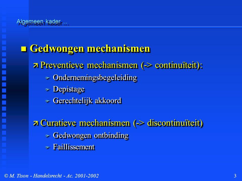 © M.Tison- Handelsrecht - Ac. 2001-200214 Gerechtelijk akkoord/Toegangsvoorwaarden...