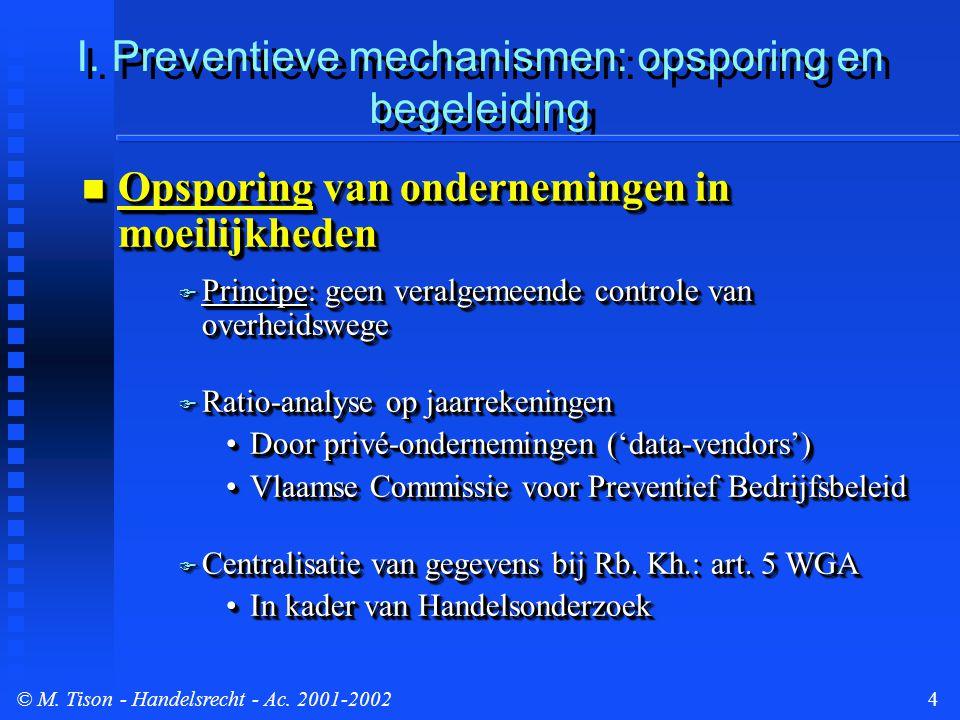 © M.Tison- Handelsrecht - Ac. 2001-200215 Gerechtelijk akkoord/inleiding procedure...