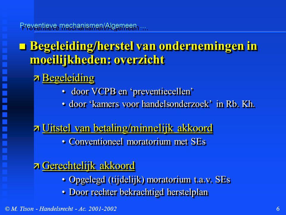 © M.Tison- Handelsrecht - Ac. 2001-20027 Preventieve mechanismen/Algemeen...
