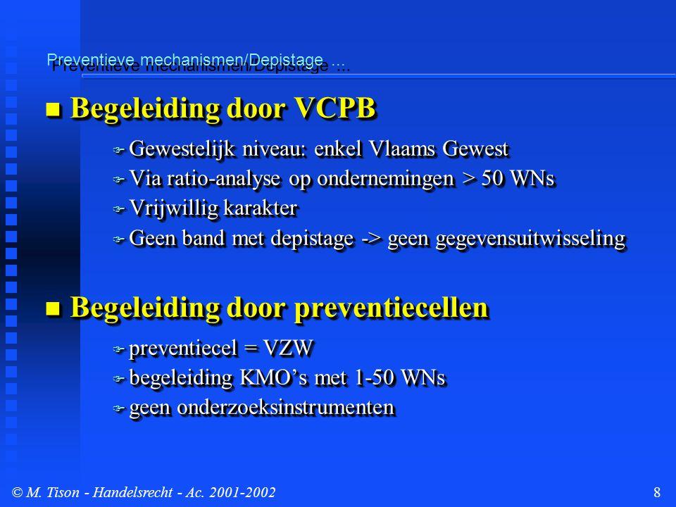 © M.Tison- Handelsrecht - Ac. 2001-20029 Preventieve mechanismen/Depistage...
