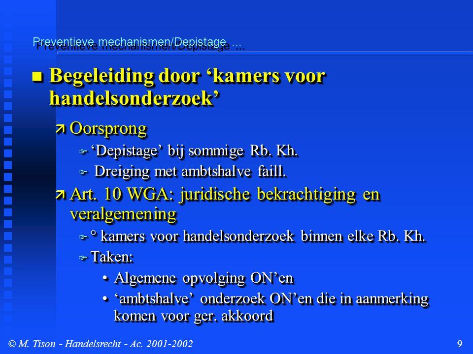 © M. Tison- Handelsrecht - Ac. 2001-20029 Preventieve mechanismen/Depistage...