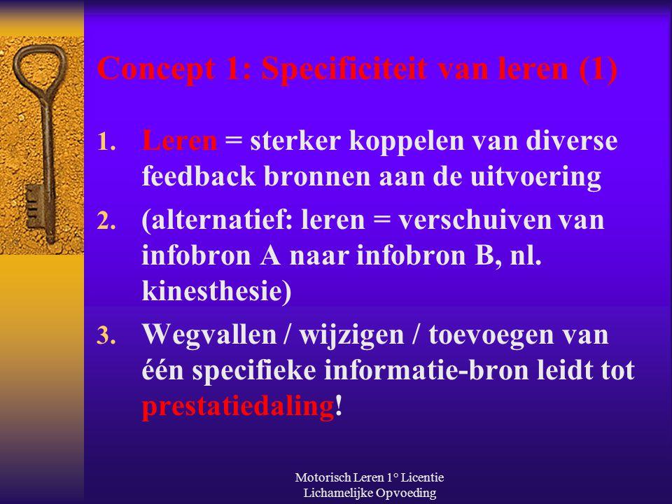 Motorisch Leren 1° Licentie Lichamelijke Opvoeding Concept 1: Specificiteit van leren (1) 1. Leren = sterker koppelen van diverse feedback bronnen aan
