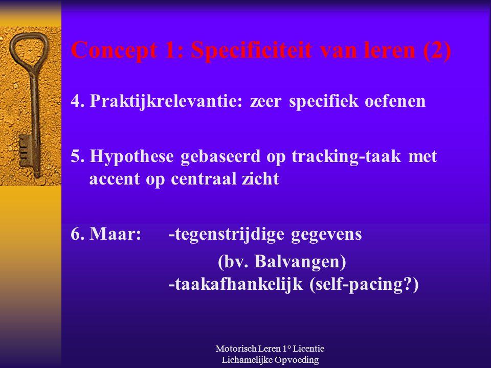 Motorisch Leren 1° Licentie Lichamelijke Opvoeding Concept 1: Specificiteit van leren (2) 4. Praktijkrelevantie: zeer specifiek oefenen 5. Hypothese g