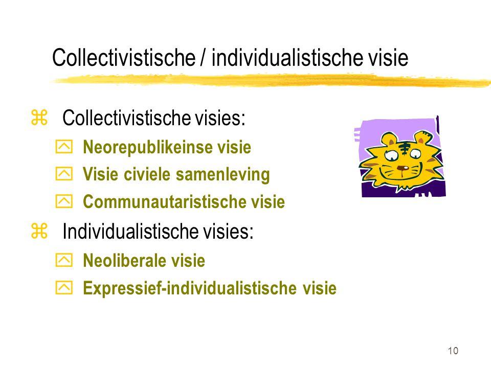 10 Collectivistische / individualistische visie zCollectivistische visies: y Neorepublikeinse visie y Visie civiele samenleving y Communautaristische