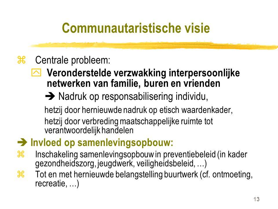 13 Communautaristische visie zCentrale probleem: y Veronderstelde verzwakking interpersoonlijke netwerken van familie, buren en vrienden  Nadruk op r