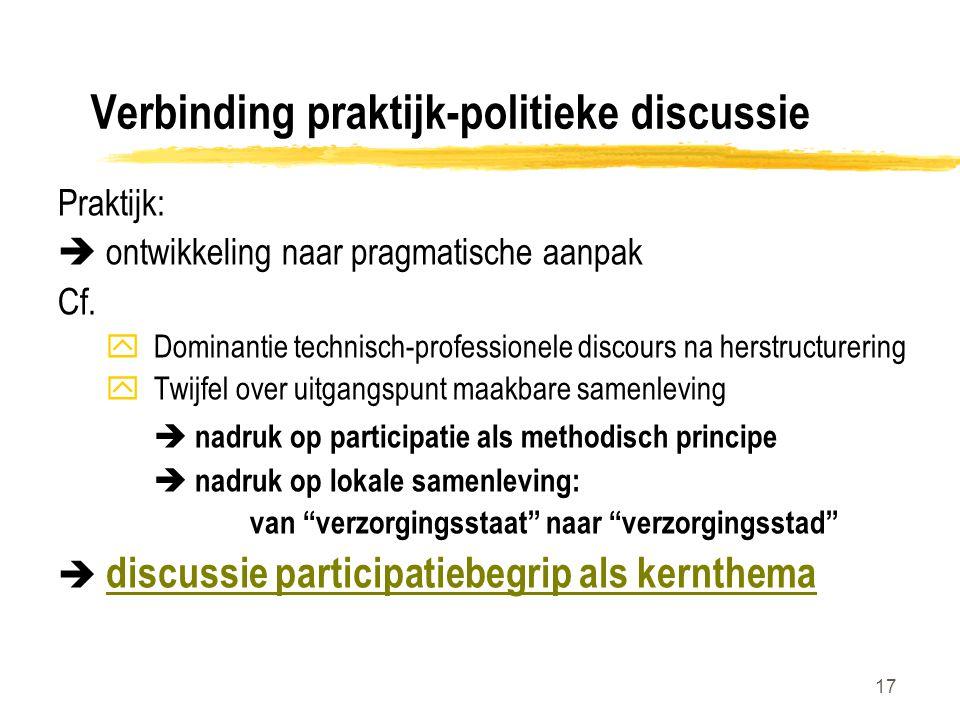 17 Verbinding praktijk-politieke discussie Praktijk:  ontwikkeling naar pragmatische aanpak Cf. yDominantie technisch-professionele discours na herst