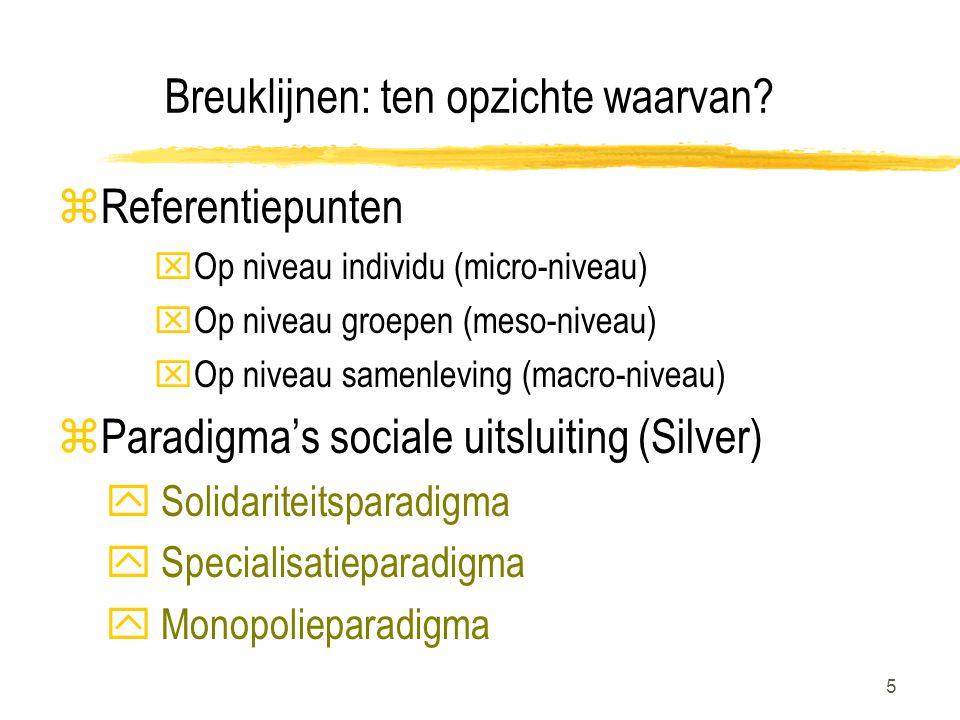 6 Paradigma's sociale uitsluiting z Solidariteitsparadigma Sociale uitsluiting= gevolg van het onthouden van maatschappelijke goederen aan bepaalde personen en groepen bv.