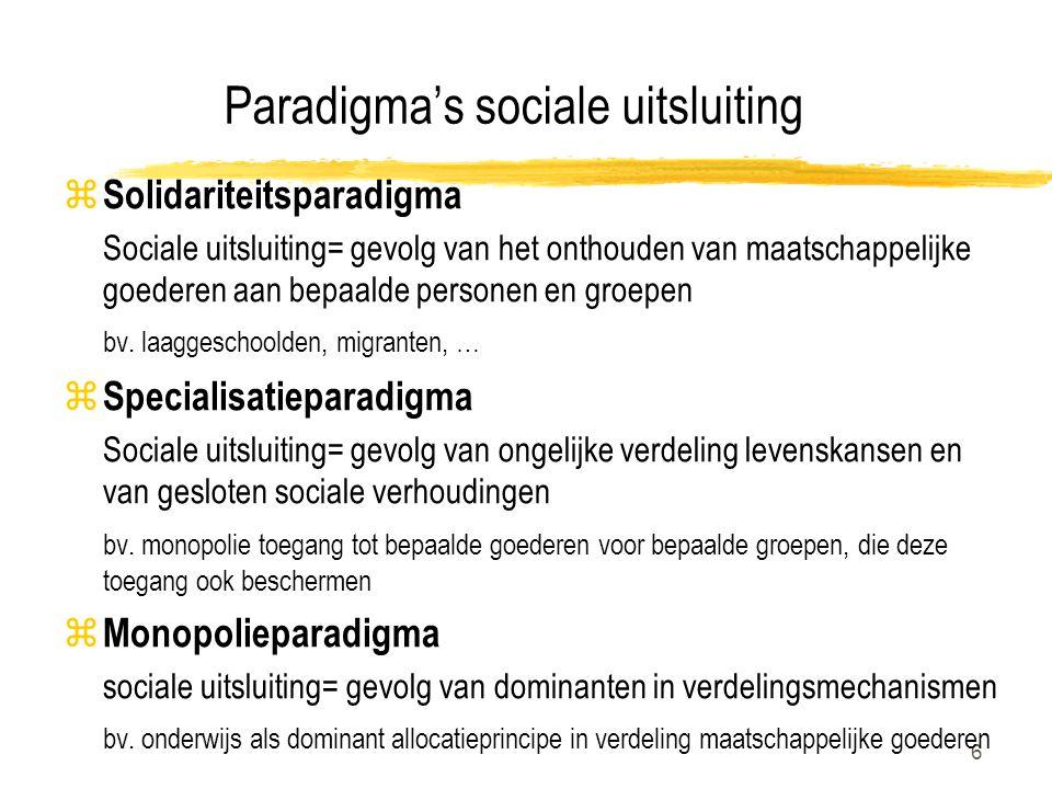 6 Paradigma's sociale uitsluiting z Solidariteitsparadigma Sociale uitsluiting= gevolg van het onthouden van maatschappelijke goederen aan bepaalde pe