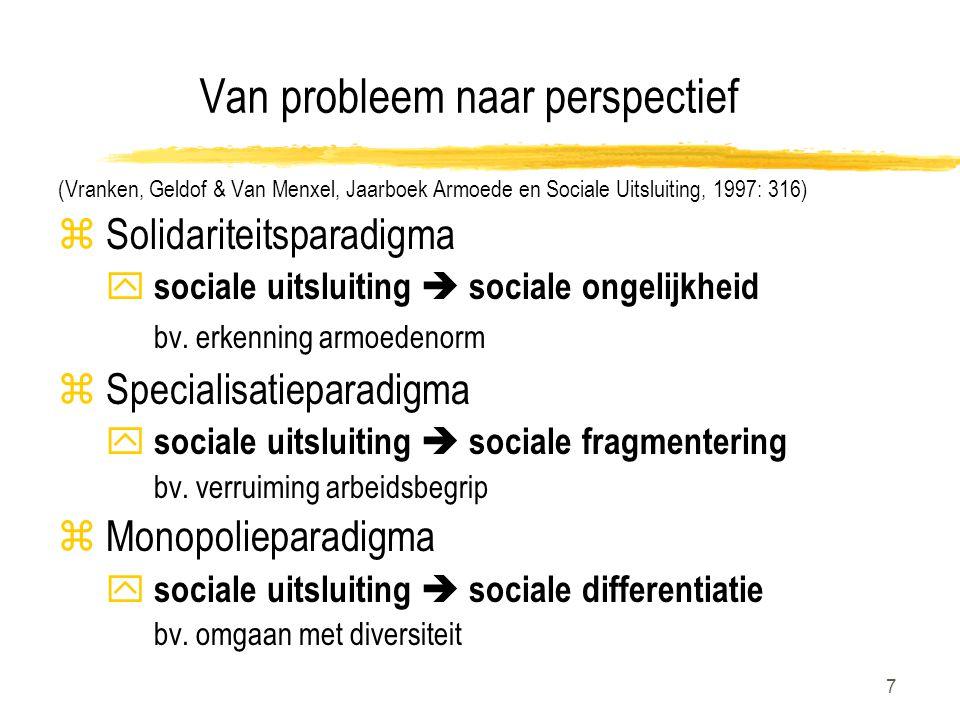 7 Van probleem naar perspectief (Vranken, Geldof & Van Menxel, Jaarboek Armoede en Sociale Uitsluiting, 1997: 316) z Solidariteitsparadigma y sociale