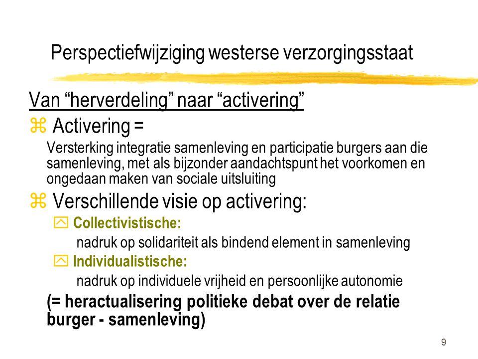 """9 Perspectiefwijziging westerse verzorgingsstaat Van """"herverdeling"""" naar """"activering"""" z Activering = Versterking integratie samenleving en participati"""