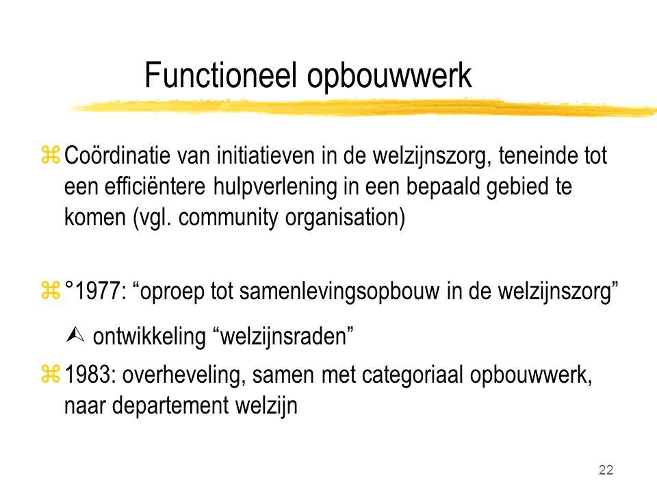22 Functioneel opbouwwerk zCoördinatie van initiatieven in de welzijnszorg, teneinde tot een efficiëntere hulpverlening in een bepaald gebied te komen (vgl.