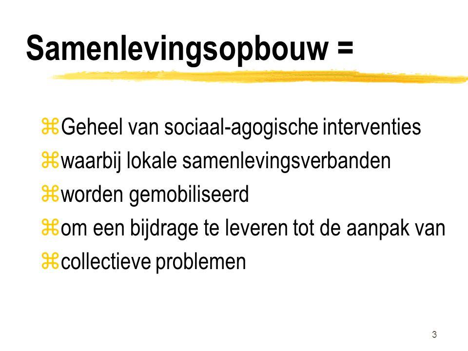 3 Samenlevingsopbouw = zGeheel van sociaal-agogische interventies zwaarbij lokale samenlevingsverbanden zworden gemobiliseerd zom een bijdrage te leveren tot de aanpak van zcollectieve problemen