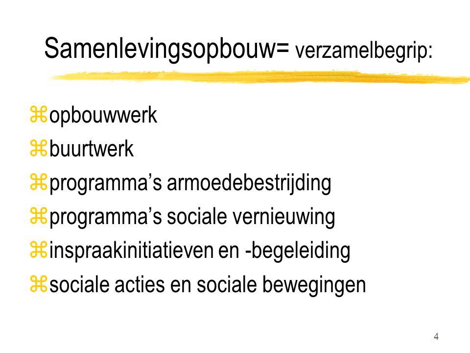 4 Samenlevingsopbouw= verzamelbegrip: zopbouwwerk zbuurtwerk zprogramma's armoedebestrijding zprogramma's sociale vernieuwing zinspraakinitiatieven en -begeleiding zsociale acties en sociale bewegingen