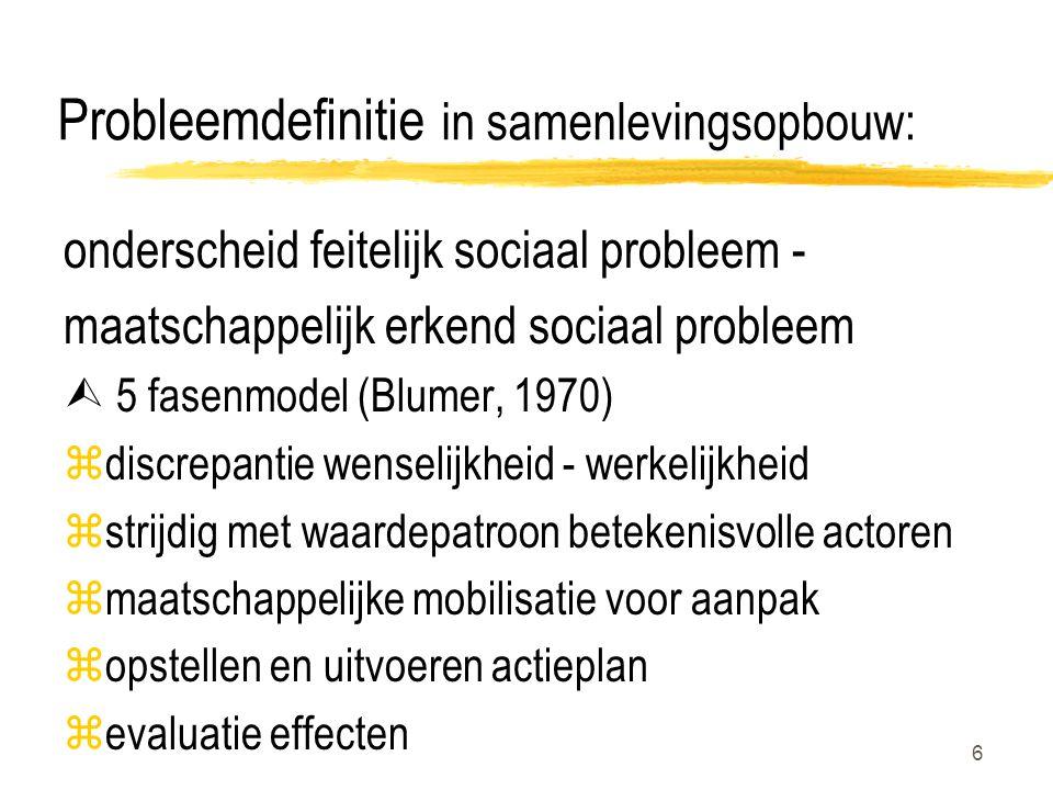 6 Probleemdefinitie in samenlevingsopbouw: onderscheid feitelijk sociaal probleem - maatschappelijk erkend sociaal probleem  5 fasenmodel (Blumer, 1970) zdiscrepantie wenselijkheid - werkelijkheid zstrijdig met waardepatroon betekenisvolle actoren zmaatschappelijke mobilisatie voor aanpak zopstellen en uitvoeren actieplan zevaluatie effecten
