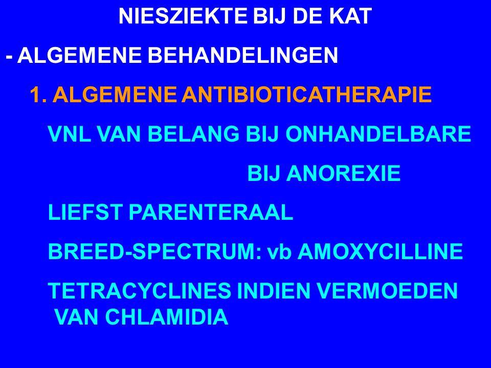 NIESZIEKTE BIJ DE KAT - ALGEMENE BEHANDELINGEN 1. ALGEMENE ANTIBIOTICATHERAPIE VNL VAN BELANG BIJ ONHANDELBARE BIJ ANOREXIE LIEFST PARENTERAAL BREED-S