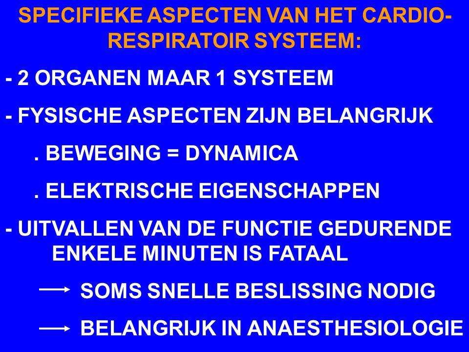 SPECIFIEKE ASPECTEN VAN HET CARDIO- RESPIRATOIR SYSTEEM: - 2 ORGANEN MAAR 1 SYSTEEM - FYSISCHE ASPECTEN ZIJN BELANGRIJK. BEWEGING = DYNAMICA. ELEKTRIS