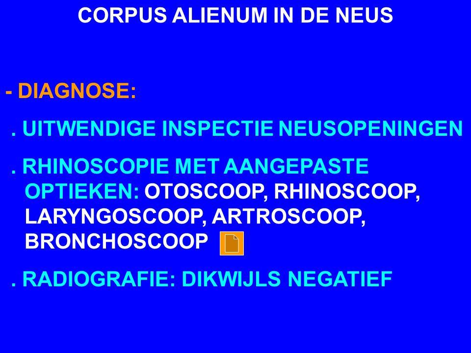 CORPUS ALIENUM IN DE NEUS - DIAGNOSE:. UITWENDIGE INSPECTIE NEUSOPENINGEN. RHINOSCOPIE MET AANGEPASTE OPTIEKEN: OTOSCOOP, RHINOSCOOP, LARYNGOSCOOP, AR
