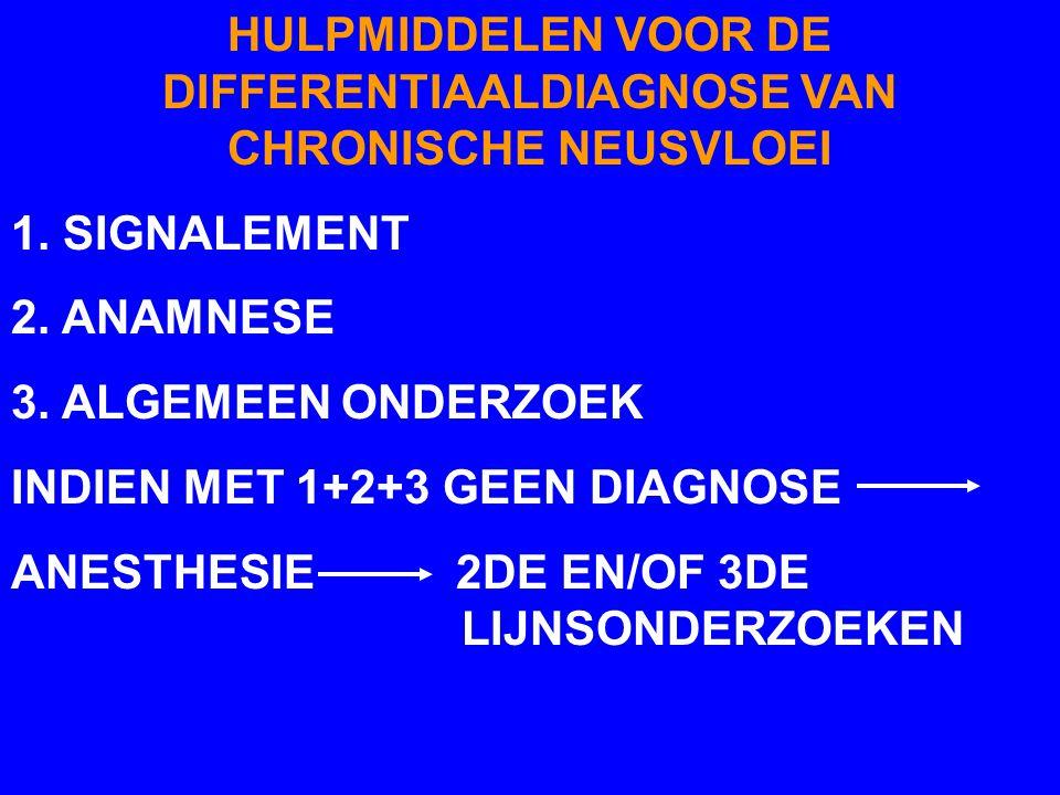 HULPMIDDELEN VOOR DE DIFFERENTIAALDIAGNOSE VAN CHRONISCHE NEUSVLOEI 1. SIGNALEMENT 2. ANAMNESE 3. ALGEMEEN ONDERZOEK INDIEN MET 1+2+3 GEEN DIAGNOSE AN