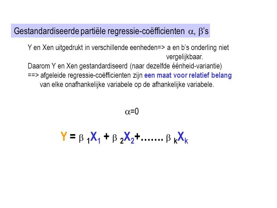 Gestandardiseerde partiële regressie-coëfficienten ,  's Y en Xen uitgedrukt in verschillende eenheden=> a en b's onderling niet vergelijkbaar. Daar