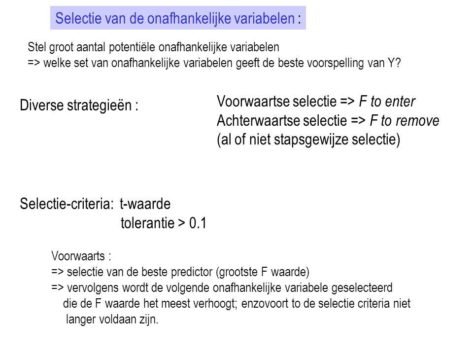 Selectie van de onafhankelijke variabelen : Stel groot aantal potentiële onafhankelijke variabelen => welke set van onafhankelijke variabelen geeft de