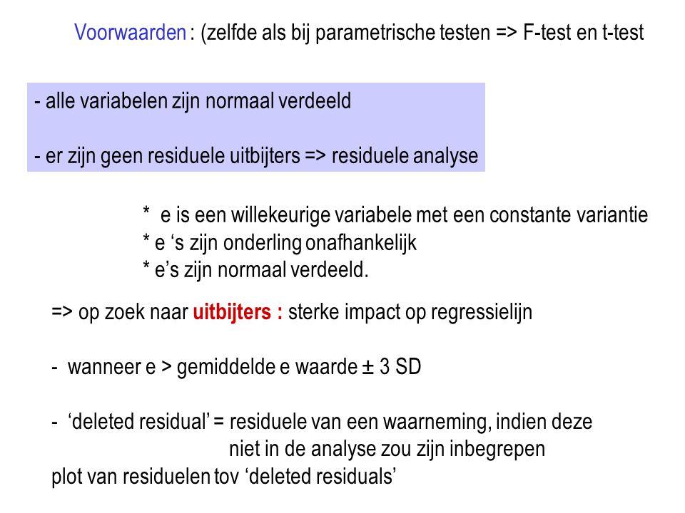 Voorwaarden : (zelfde als bij parametrische testen => F-test en t-test - alle variabelen zijn normaal verdeeld - er zijn geen residuele uitbijters =>