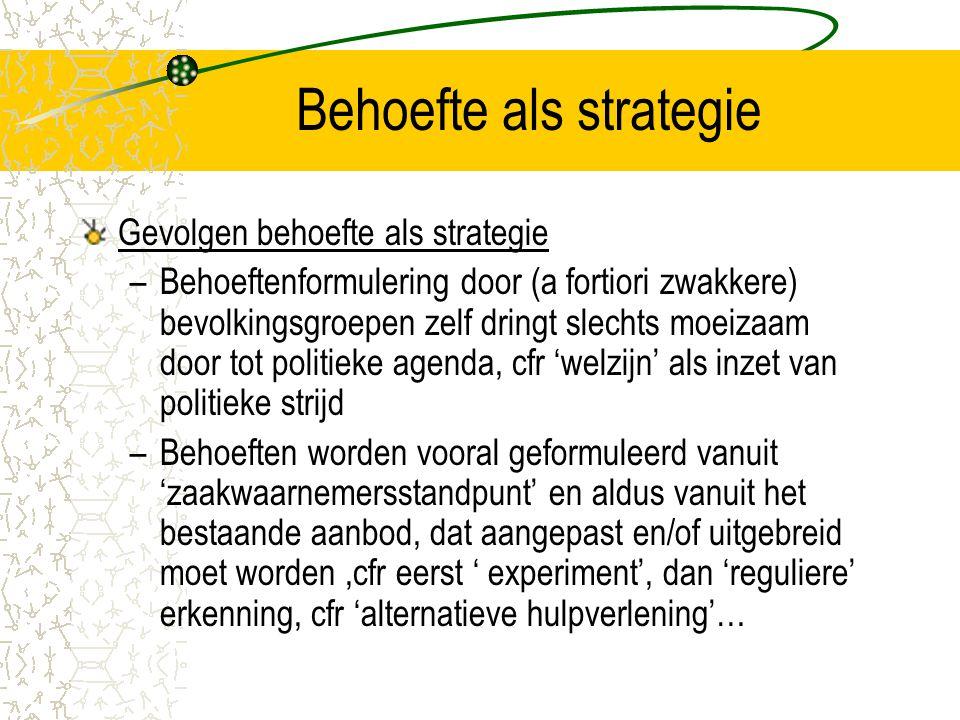 Behoefte als strategie Gevolgen behoefte als strategie –Behoeftenformulering door (a fortiori zwakkere) bevolkingsgroepen zelf dringt slechts moeizaam