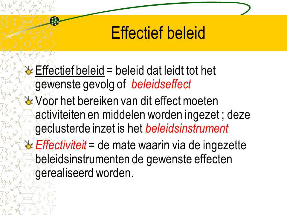 Effectief beleid Effectief beleid = beleid dat leidt tot het gewenste gevolg of beleidseffect Voor het bereiken van dit effect moeten activiteiten en